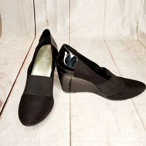 ANNE KLEIN SPORT Black Wedge Heels Career Shoes 9M